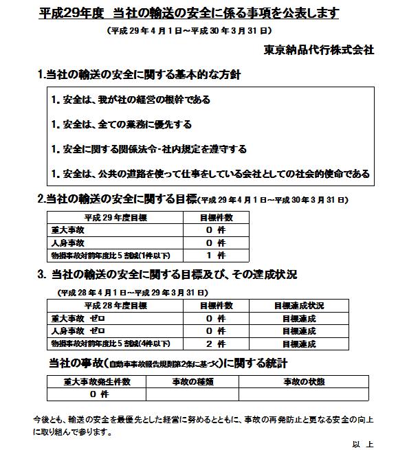 平成29年度 運輸安全マネジメント公表